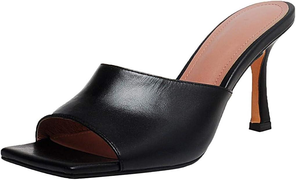 ANNIESHOE Sandali Donna Mules Pelle Elegante Tacco Alto a Spillo Estivi Nero