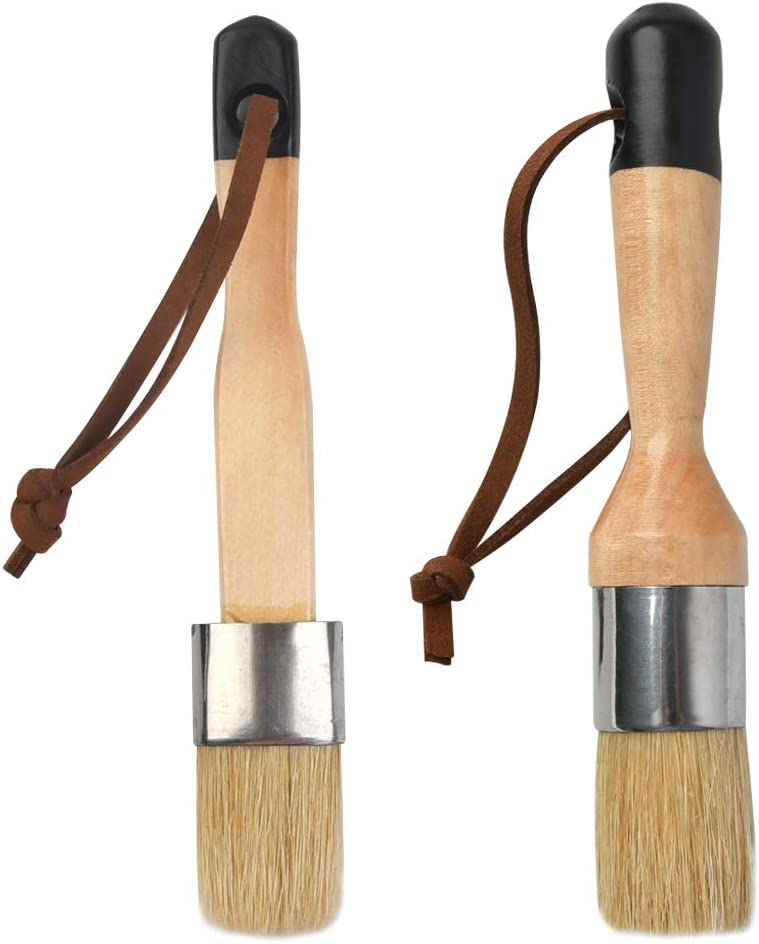 TIMESETL 2 Pcs Chalk & Wax Paint Brush Set, DIY Painting and Waxing Tool for for Chairs, Chalk Painting, Table and Wood Refinishing Furniture - Smooth, Natural Bristles, Folk Art, Home Décor, Stencils