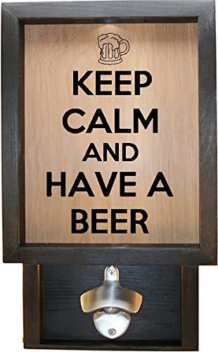 Wooden Shadow Box Bottle Cap Holder 9″x15″ with Bottle Opener – Keep Calm And Have A Beer With Mug (Ebony w/Black) Review