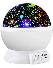 Amouhom lampka nocna LED z projektorem gwiaździstego nieba, do sypialni dla niemowląt i dzieci, romantyczny prezent dla kobiety...