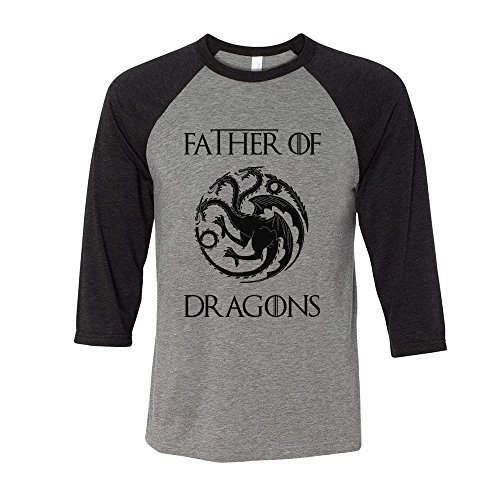 Father of Dragons Geeky Father's Day Baseball Shirt Unisex 2X-Large Grey/Black