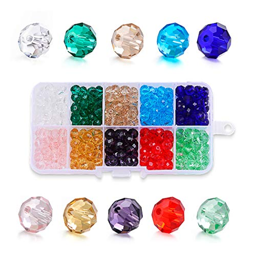 SROMAY 300Pcs 8mm Briolette Faceted Crystal Glass Beads for Jewelry Making Findings Assorted Colors with Bead Container