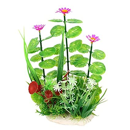 Amazon.com : eDealMax Planta de agua de plástico Artificial 24.5cm Verde Fucsia Para Fish Tank : Pet Supplies
