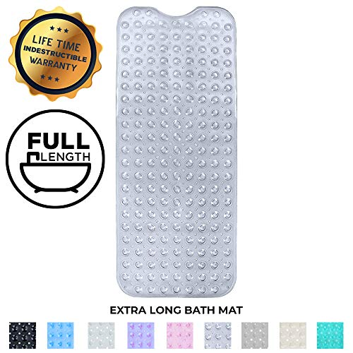 Enkosi Bath Mat - Large Non Slip Bathtub & Shower Mat - Extra Long 40 x 16 Inch Bathroom Mats for Tub - Machine Washable & Mildew Resistant Nonslip Bathmats - Anti Slip Bathroom Accessories