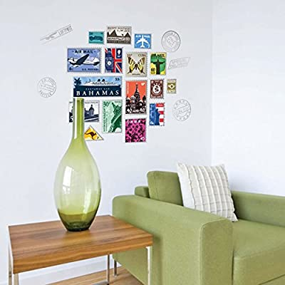 Creative Postal Stamp Wall Sticker Sofa Dining Room Wall Mural Picture Travel Decal Buy Online At Best Price In Ksa Souq Is Now Amazon Sa