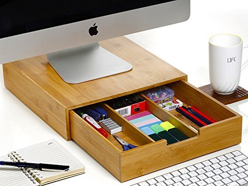 Monitor Stand Organizer   Splinter Boost   Bamboo Wood Desk Computer Stand  With Storage Drawers