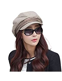 Siggi Wool Newsboy Cabbie Beret Cap for Women Beret Visor Bill Hat Winter Beige