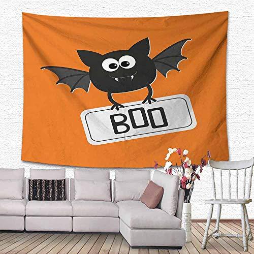 SONGDAYONE Bed Linen Tapestry Halloween Cute Funny Bat with Plate Boo Fangs Scare Frighten Seasonal Cartoon Print Foldable Orange Black White W80 x L60