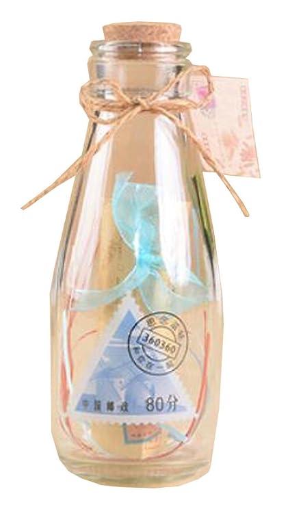 Molino de viento creativo deseando botella de leche Lucky botella de vidrio con tapón de corcho