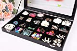RJ Displays- Black Velvet Decorative 24 Slot Jewelry Display Box Tray Clear Glass Top/Dresser Top Pendant Ring Earrings Bracelets Coins Jewelry Gemstones Organizer (24) (24)