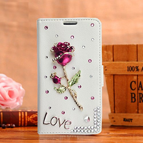 Mini D-pad Crystal Cover (Locaa(TM) Apple IPhone 5 5G 5S Bling 3D Crystal Pearl Diamond Rhinestone Eyecatching Beautiful Leather Folio Support Smart Cover With Card Holder Case - [General series] fashion trend)