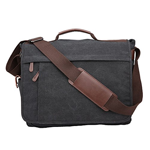 Toupons Men's 15.6 inch Laptop Messenger Bag Canvas Shoulder Bag College Schoolbag Satchel (L, Black) by Toupons
