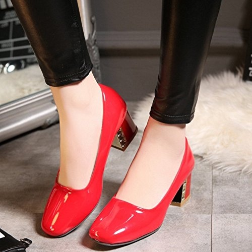 Slip Red Shoes Heel Pumps Block Retro Classical High Women TAOFFEN On xgOqFwYvS