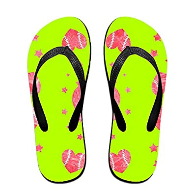 0aa8c8b8ead3f6 outlet Baseball Heart Love Unisex Fashion Beach Slipper Indoor And Outdoor  Classical Flip-Flop Thong