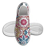 DiamondsJun Unisex Ethnic Colorful Bohemian Pattern In Pastel Colors With Big Abstract Flowers Ornate All Over 3D Printed Mesh Slip On Fashion Comfortable Shoes 43