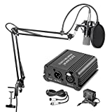 Neewer NW-700 Professional Condenser Microphone & NW-35 Suspension Boom Scissor Arm Stand with XLR Cable and Mounting Clamp & NW-3 Pop Filter & 48V Phantom Power Supply with Adapter Kit ()