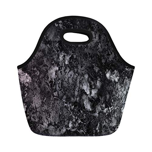 - Semtomn Lunch Tote Bag Gray Granite Marble Black and White Pattern Rock Polished Reusable Neoprene Insulated Thermal Outdoor Picnic Lunchbox for Men Women