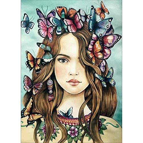 litymitzromq Canvas Print Wall Art Painting, 30x40cm Girl Butterfly Cross Stitch Craft DIY Mosaic Full Round Diamond Painting for Home Living Room Bedroom Bathroom Kitchen Office Wall Decor (Mosaic Butterfly Wall Art)
