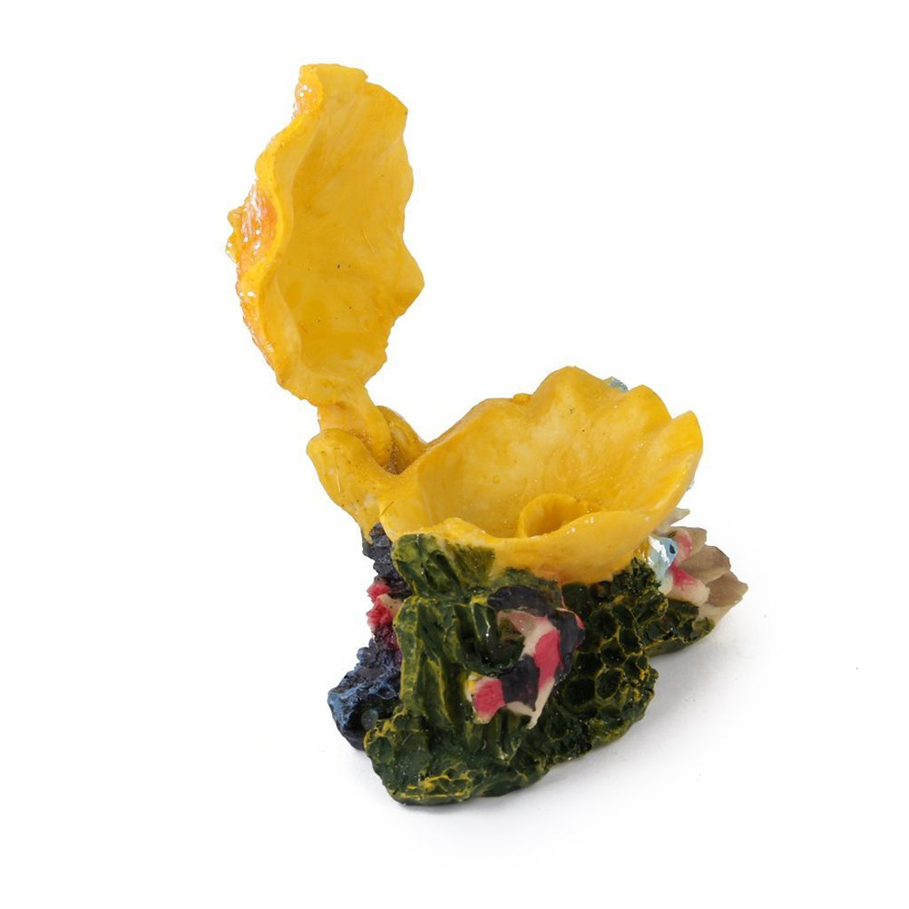 UEETEK Ornamento de concha burbujeante colorido para tanque de peces de acuario (amarillo): Amazon.es: Hogar