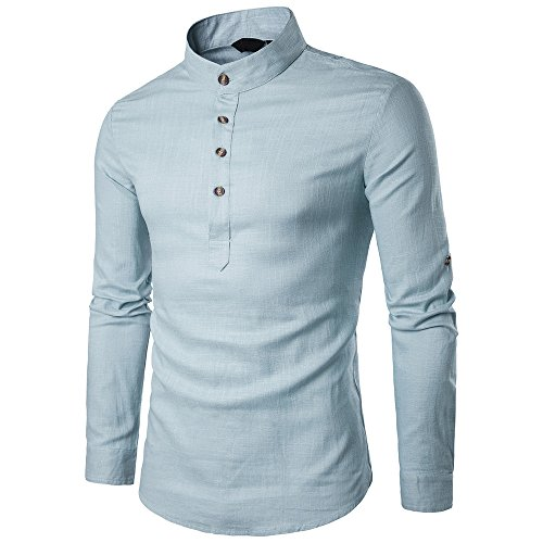 Simayixx Linen Shirts for Men, Casual Vintage Solid Long-Sleeve Half Button Pullover Stand Neck Tops Blouse Blue -