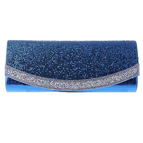 Flap Texture Long Evening Damara Sequins Clutch Womens Blue RWqqA7