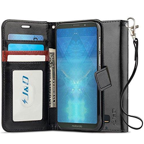 J&D Case Compatible for Moto Z3 Case, Moto Z3 Play Case, [RFID Blocking Wallet] [Slim Fit] Heavy Duty Protective Shock Resistant Flip Cover Wallet Case for Motorola Moto Z3/Moto Z3 Play Wallet Case