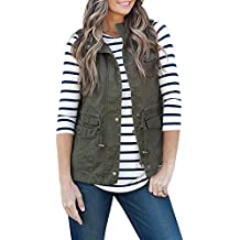 FISACE Women's Lightweight Sleeveless Stretchy Drawstring Jacket Vest with Zipper