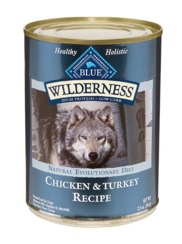 Blue Buffalo Wilderness Grain Free Canned Dog Food, Turkey and Chicken Recipe (Pack of 12,12.5-Ounce Cans)