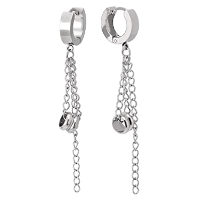 2add8bc33 Mens Women Stainless Steel Huggie Hinged Hoop Earrings with Dangling Long  Chain and Bead Charm: Amazon.co.uk: Jewellery