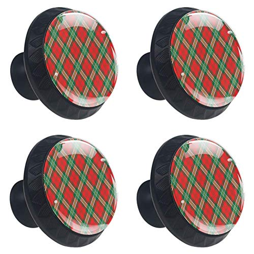 (LORVIES Red Plaid Drawer Knob Pull Handle Crystal Glass Circle Shape Cabinet Drawer Pulls Cupboard Knobs with Screws for Home Office Cabinet Cupboard (4 Pieces))