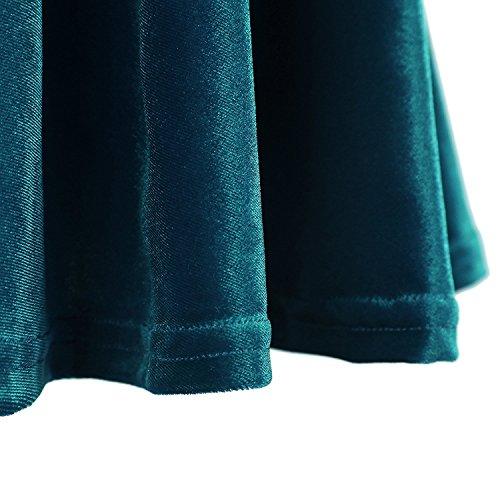 Fille Jupe Jupe Plisse Rtro FISOUL Paon Mini Velours Court Bleu Elastique Patineuse Femmes wgvOqY