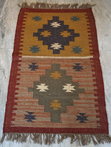 thehandicraftworld HANDMADE WOOLEN HAND WOVEN FLOOR YOGA MAT CARPET INDIAN KILIM RUGS (76.2Cm x 121.92cm)