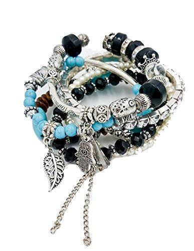 [Aris Bohemian Turquoise Beaded Stretch Bracelets Stack Bundle: Bracelets & Bag (Hamsa Turquoise] (Costume Jewelry Diamond Rings)