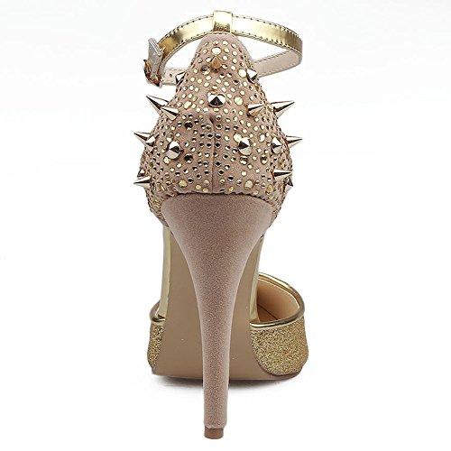 10 hebilla Sandalias Tacón Estilete L bomba Tacones yc Cm zapatos Oro Mujer Aguja De Tacón Zapatos Moda qq1gRvx