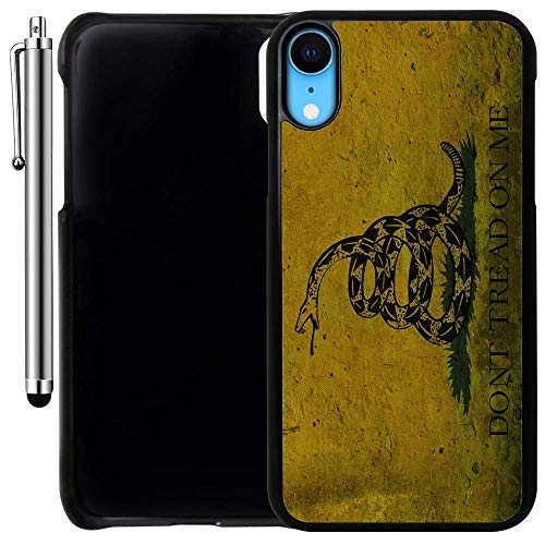 (Custom Case Compatible with iPhone XR (Dont Tread on Me Grunge) Plastic Black Cover Ultra Slim   Lightweight   Includes Stylus Pen by Innosub)