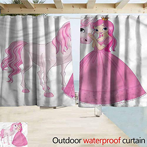 (MaryMunger Indoor/Outdoor Print Window Curtain Princess Young Lady with Her Pony Simple Stylish Waterproof W63x72L Inches)
