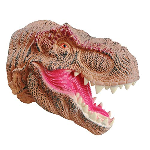 (AZRtoys Hand Puppets - Realistic Rubber Tyrannosaurus T-Rex Head Imaginative Play Toys for Toddlers Kids Babies - Perfect for Storytelling, Teaching, Preschool)
