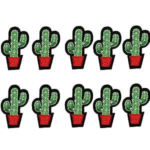 Super1798-10 parches bordados con diseño de cactus para coser, para planchar sobre la ropa, bricolaje