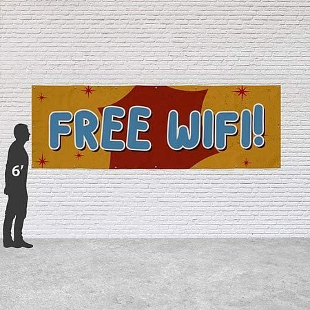 CGSignLab Free WiFi 12x4 Nostalgia Burst Heavy-Duty Outdoor Vinyl Banner