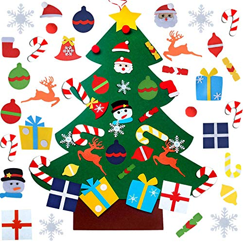WESJOY Felt Christmas Tree DIY Christmas Tree with 31 Pcs Detachable Ornaments Wall Decor with Hanging Rope for Toddlers Kids Xmas Gifts Home Door Decoration