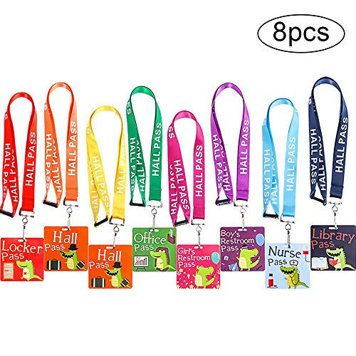JPSOR 8pcs Hall Pass Lanyards - School Classroom Passes for Teacher and Student - Cute Dinosaur Pattern