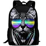 JKCSD Youth Funny Hip Hop Dj Cat Black Travel School Computer Daypack Backpacks