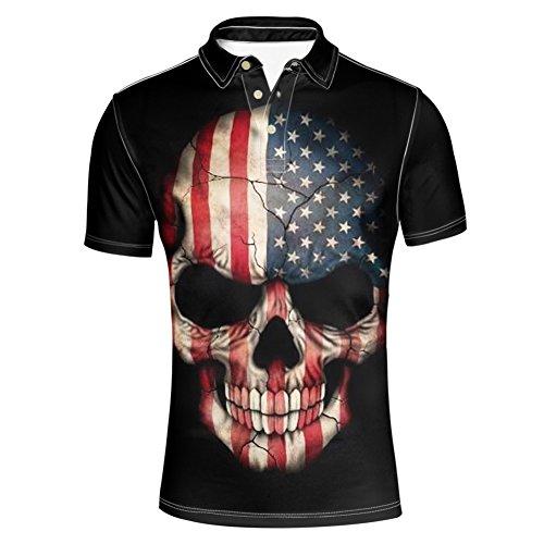 HUGS IDEA Classic Men's Golf Polos Shirts American Flag Skull T-Shirt Summer Short Sleeves Sport Tees