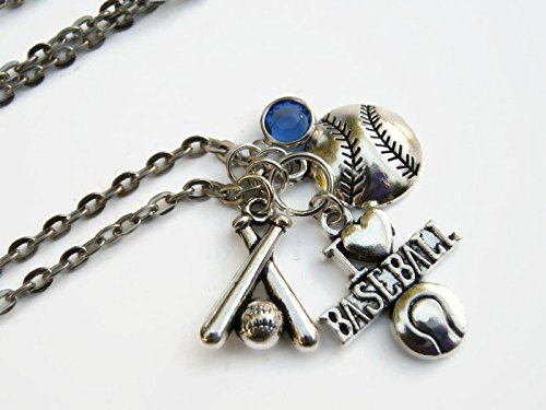 I Love Baseball Necklace, Personalized Birthstone Jewelry, Sports Athletic Gift, Handmade in (Crystal Mlb Necklace)