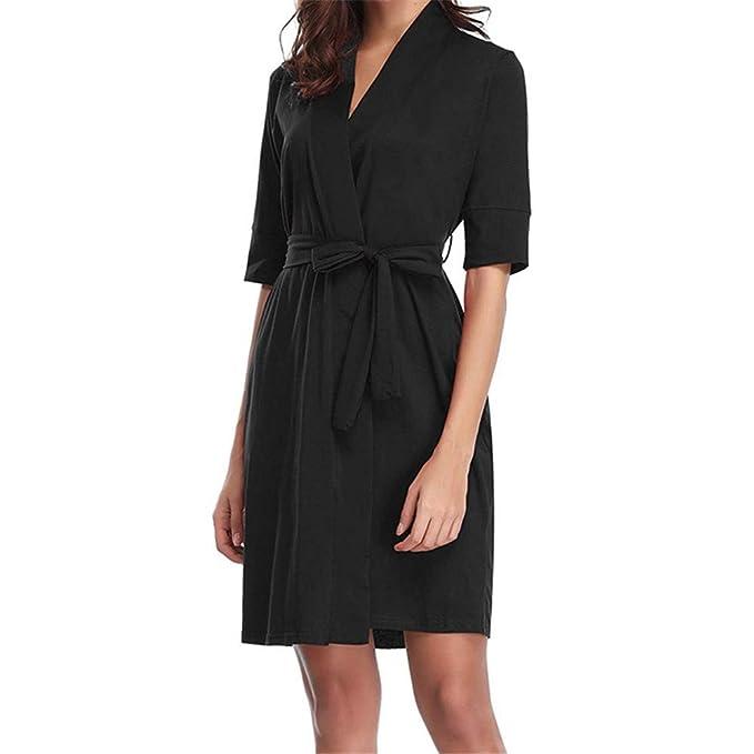 Luckycat Algodón para Mujer Half Robe Soft Kimono Robes Knit Albornoz Loungewear Ropa de Dormir: Amazon.es: Ropa y accesorios