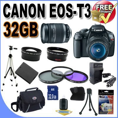 UPC 662425803538, Canon EOS Rebel T3 12.2 MP CMOS Digital SLR with 18-55mm IS II Lens (Black)+58mm 2x Telephoto lens + 58mm Wide Angle Lens (3 Lens Kit!!!) W/32GB SDHC Memory +Extra Battery/Charger+3 PIece Filter Kit+Case+Full Size Tripod+Accessory Kit