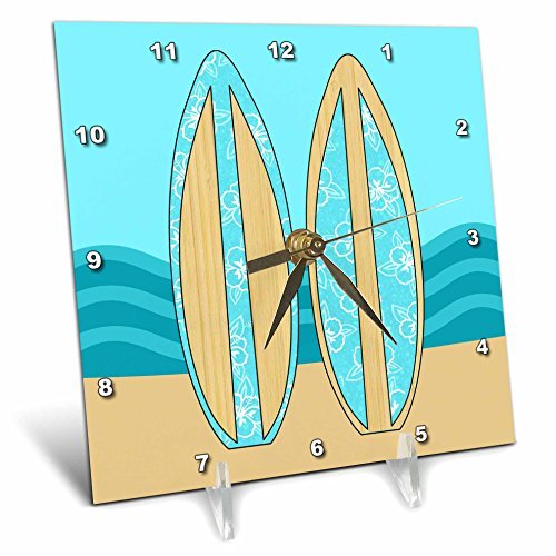 - 3dRose dc_77546_1 Aqua Blue Surfboards and The Ocean-Desk Clock, 6 by 6-Inch
