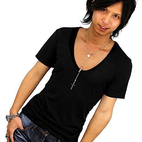 鎮静剤ヘッドレスセッション[スワンユニオン] 深Vネック 細身 半袖Tシャツ