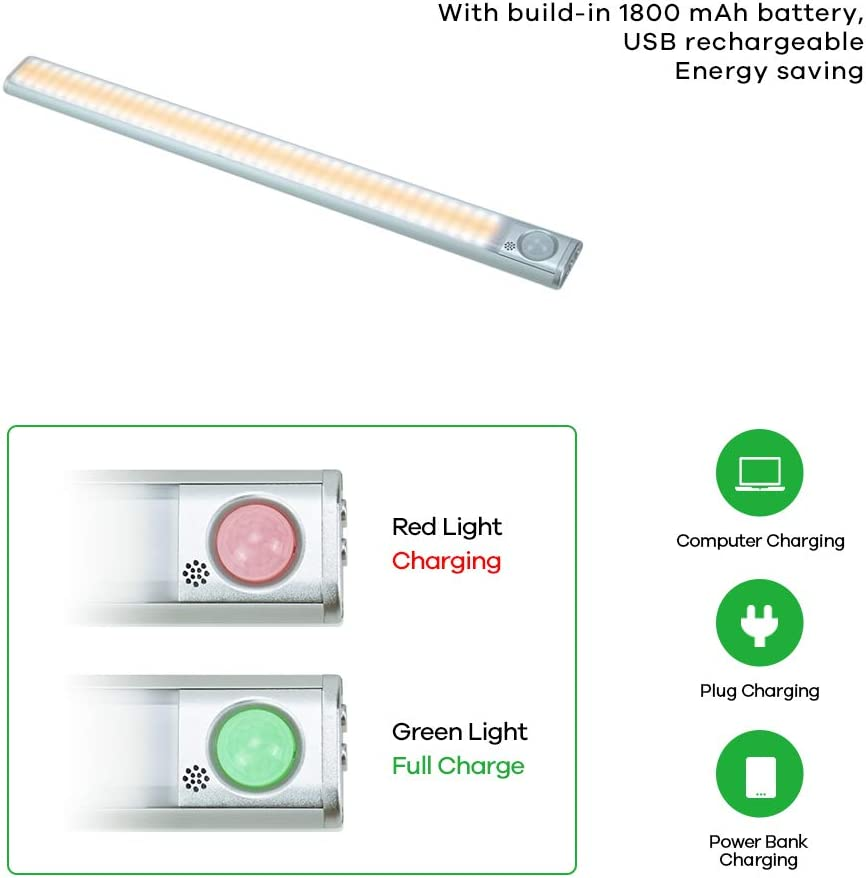 Stairs Rechargeable Led Under Cabinet Lighting for Wardrobe Cabinet Motion Sensor LED Closet Light Bar 80 LEDs 4 Modes 3 Colours Changing Dimmable