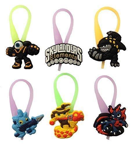 Skylanders Luminescent Colorful Silicone Snap Lock Zipper Pulls 6 Pcs Set #2 (Skylander Force)